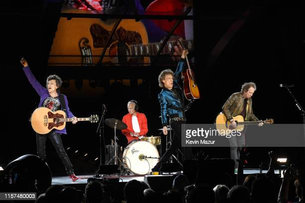 Ronnie Wood Charlie Watts Mick Jagger and Keith Richards perform onstage as The Rolling Stones kick off the North American run of their 'NO FILTER'...