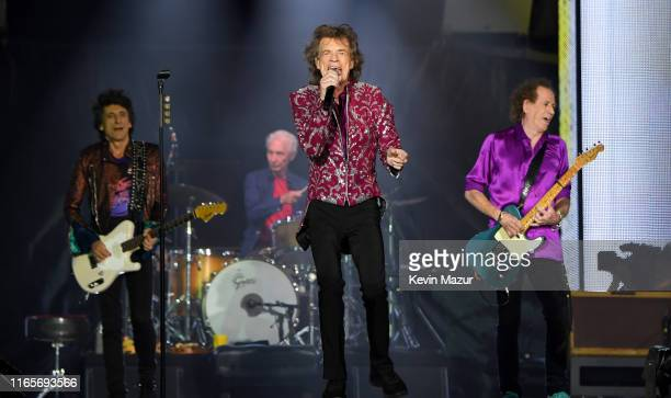 Ronnie Wood Charlie Watts Mick Jagger and Keith Richards perform onstage during The Rolling Stones NO FILTER tour on August 01 2019 in East...
