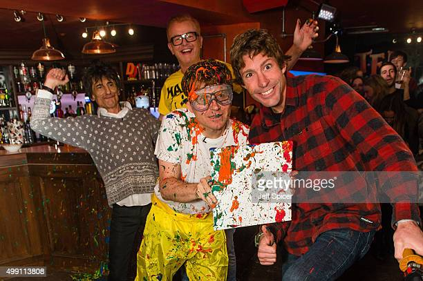 Ronnie Wood Chris Evans Will McDonald and Travis Pastrana during a live broadcast of 'TFI Friday' on November 27 2015 in London England