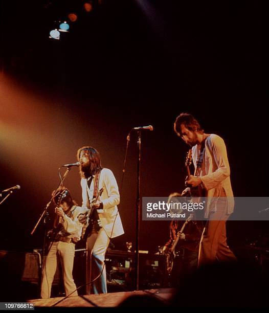 Ronnie Wood, Eric Clapton, Rick Grech , and Pete Townshend performing on stage during Clapton's comeback concert at the Rainbow theatre in London,...