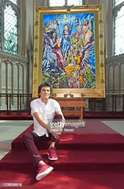 Ronnie Wood installs his latest art exhibition Ronnie Wood x Ashridge House which runs from August 2127 at Ashridge House on August 11 2020 in...