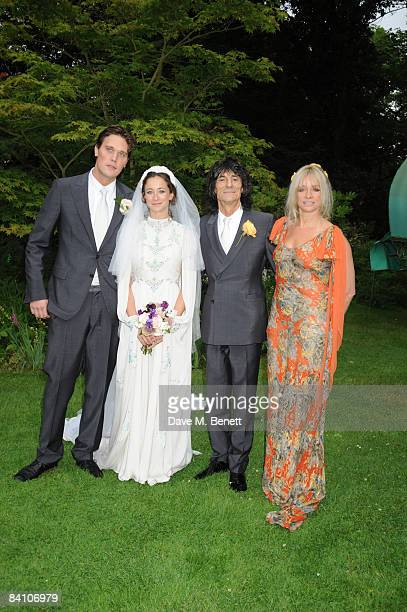Ronnie Wood Jack MacDonald Leah Wood and Jo Wood attend the wedding reception of Leah Wood and Jack MacDonald at Holm Wood on June 21 2008 in London...