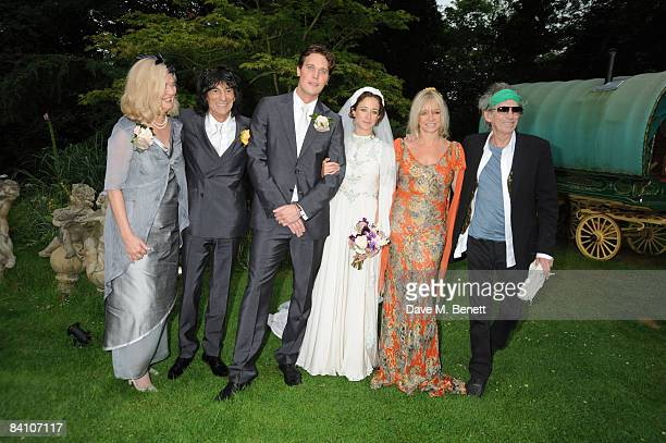 Ronnie Wood Jack MacDonald Leah Wood Jo Wood and Keith Richards attend the wedding reception of Leah Wood and Jack MacDonald at Holm Wood on June 21...