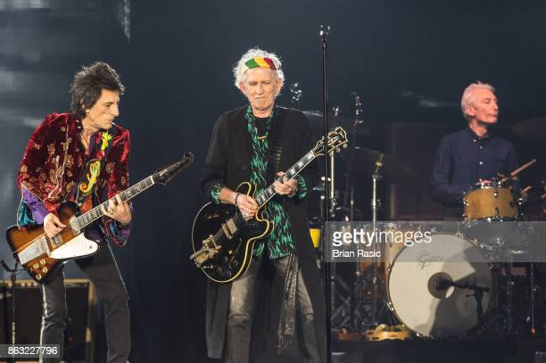Ronnie Wood Keith Richards and Charlie Watts of The Rolling Stones perform live on stage at U Arena on October 19 2017 in Nanterre France