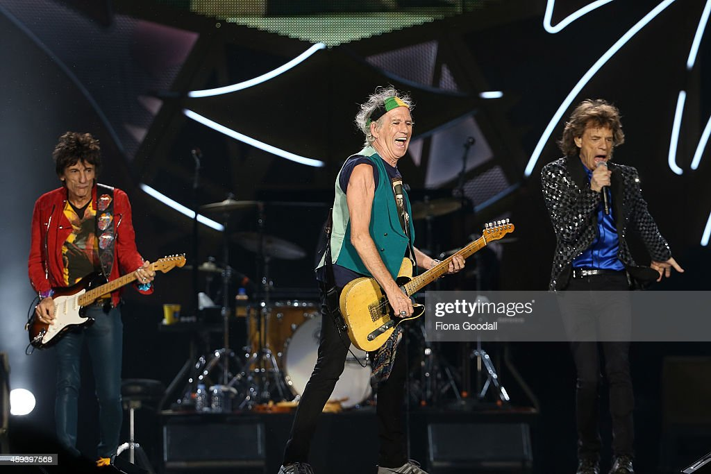 Ronnie Wood (L) Keith Richards (C) and Mick Jagger (R) on stage as The Rolling Stones perform live at Mt Smart Stadium on November 22, 2014 in Auckland, New Zealand.
