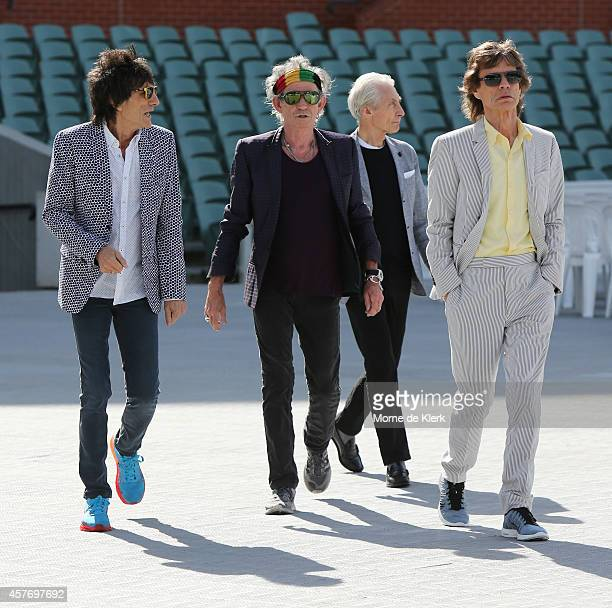 Ronnie Wood Keith Richards Charlie Watts and Mick Jagger of the Rolling Stones walk onto the Adelaide Oval for a photo call for the media ahead of...