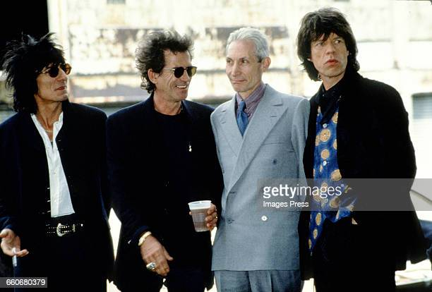 Ronnie Wood Keith Richards Charlie Watts Mick Jagger of The Rolling Stones attend the press conference announcing their Voodoo Lounge tour circa 1994...
