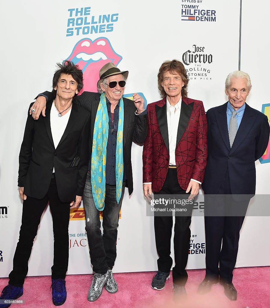 Ronnie Wood, Keith Richards, Mick Jagger, and Charlie Watts of The Rolling Stones attend The Rolling Stones celebrate the North American debut of Exhibitionism at Industria in the West Village on November 15, 2016 in New York City.