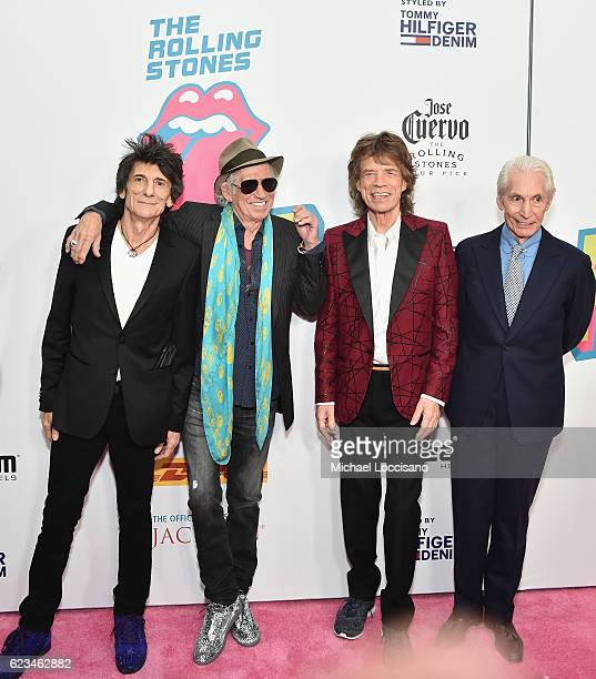 Ronnie Wood Keith Richards Mick Jagger and Charlie Watts of The Rolling Stones attend The Rolling Stones celebrate the North American debut of...