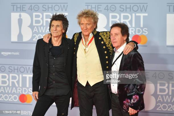 Ronnie Wood, Kenney Jones and Rod Stewart of The Faces attend The BRIT Awards 2020 at The O2 Arena on February 18, 2020 in London, England.