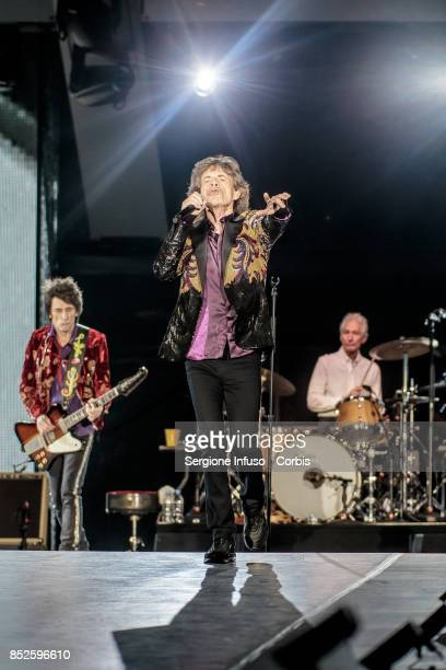 Ronnie Wood Mick Jagger and Charlie Watts of The Rolling Stones perform on stage during Lucca Summer Festival 2017 on September 23 2017 in Lucca Italy