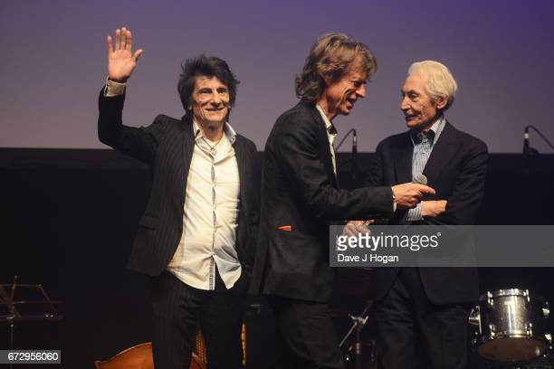 Ronnie Wood Mick Jagger and Charlie Watts of The Rolling Stones attend the Jazz FM Awards 2017 at Shoreditch Town Hall on April 25 2017 in London...