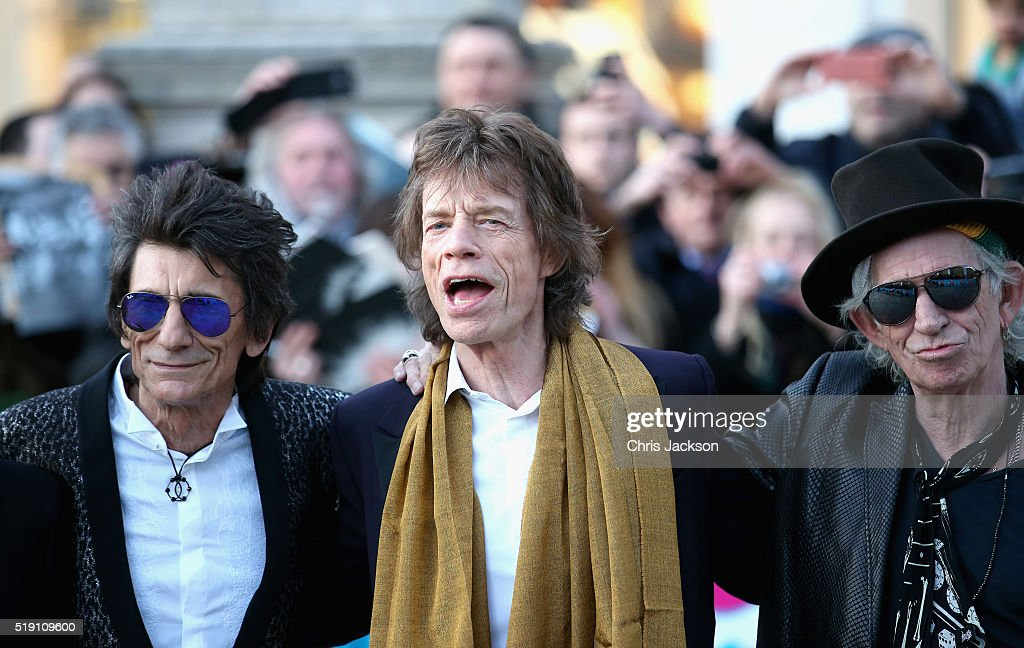 Ronnie Wood, Mick Jagger and Keith Richards arrives for the private view of 'The Rolling Stones: Exhibitionism' at the Saatchi Gallery on April 4, 2016 in London, England.