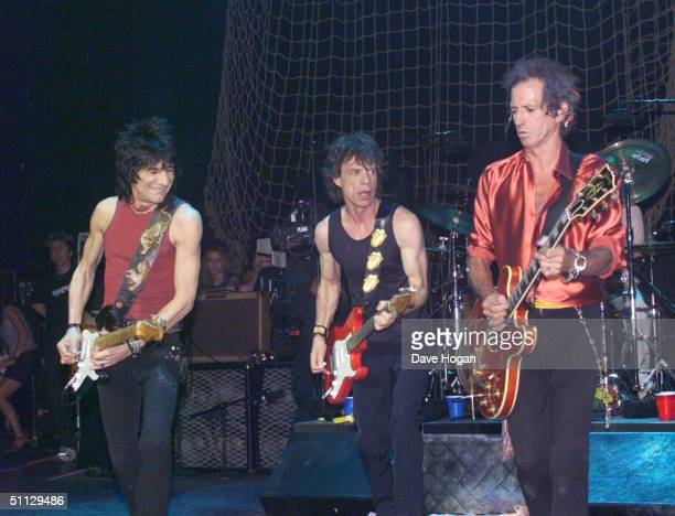 Ronnie Wood Mick Jagger and Keith Richards from The Rolling Stones perform on stage at the Shepherds Bush Empire on June 8th 1999 in London
