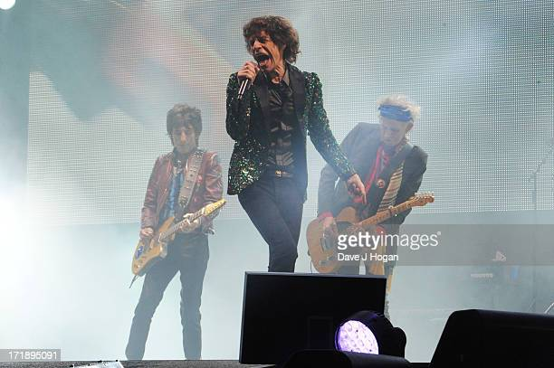 Ronnie Wood Mick Jagger and Keith Richards of The Rolling Stones perform at day 3 of the 2013 Glastonbury Festival at Worthy Farm on June 29 2013 in...
