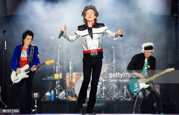 Ronnie Wood Mick Jagger and Keith Richards of The Rolling Stones performs live on stage at London Stadium on May 22 2018 in London England