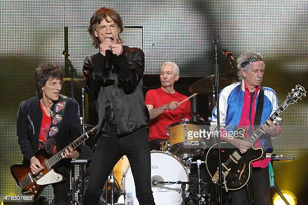 Ronnie Wood Mick Jagger Charlie Watts and Keith Richards of British band The Rolling Stones perform on the stage in concert at the MercedesBenz Arena...