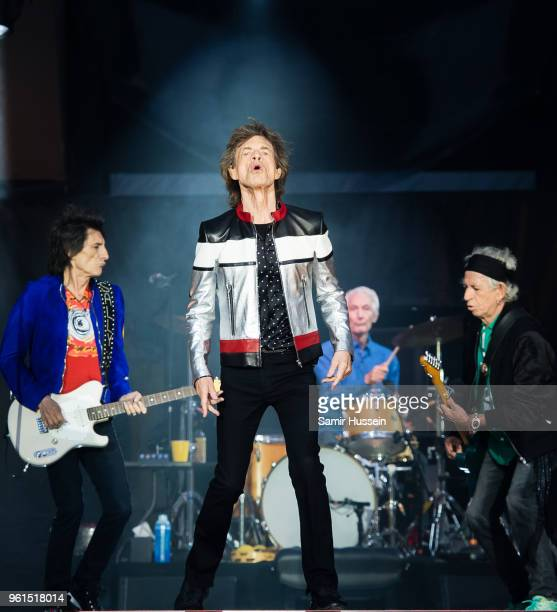 Ronnie Wood Mick Jagger Charlie Watts and Keith Richards of The Rolling Stones perform live on stage at London Stadium on May 22 2018 in London...