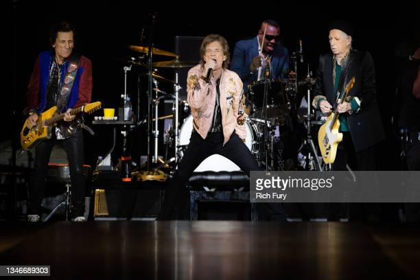 Ronnie Wood, Mick Jagger, Steve Jordan and Keith Richards of The Rolling Stones perform onstage at SoFi Stadium on October 14, 2021 in Inglewood,...