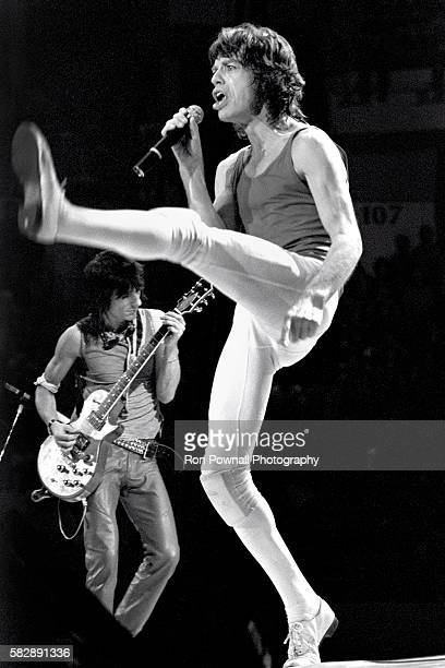 Ronnie Wood MIck Jagger/Rolling Stones performing at the Hartford Civic Center Nov 91981