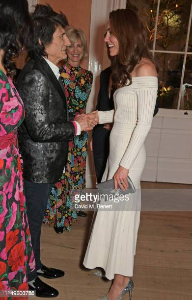 Ronnie Wood, Nicola Formby and Catherine, Duchess of Cambridge attend a dinner hosted by Skye Gyngell and the Trustees of Action on Addiction to...
