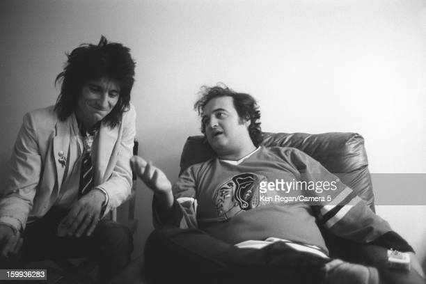 Ronnie Wood of the Rolling Stones and John Belushi are photographed backstage of Saturday Night Live on October 7 1978 in New York City CREDIT MUST...