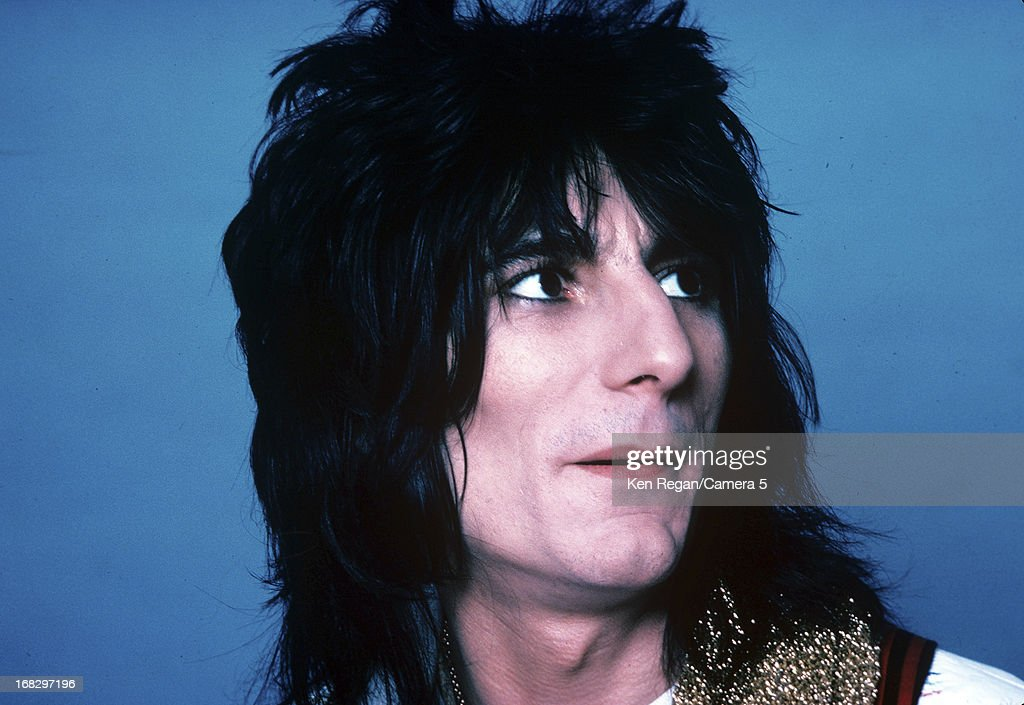 Ronnie Wood of the Rolling Stones is photographed at the Camera 5 studios in 1977 in New York City.