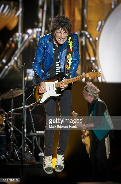 Ronnie Wood of 'The Rolling Stones' is photographed at the Quebec Music Festival in Quebec City for Self Assignment on July 16, 2015.