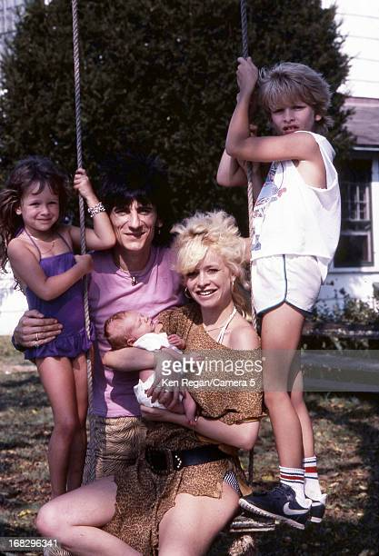 Ronnie Wood of the Rolling Stones Jo Wood and children Leah Tyrone and Jamie are photographed in 1983 in Los Angeles California CREDIT MUST READ Ken...