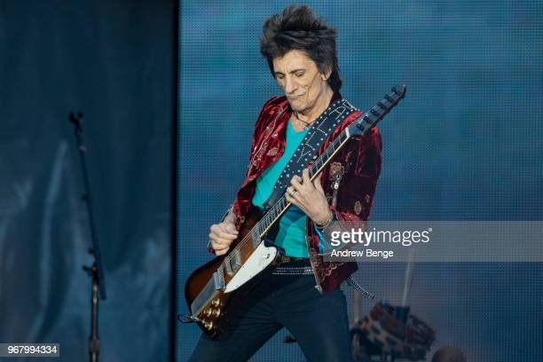 Ronnie Wood of The Rolling Stones performs live on stage at Old Trafford on June 5 2018 in Manchester England