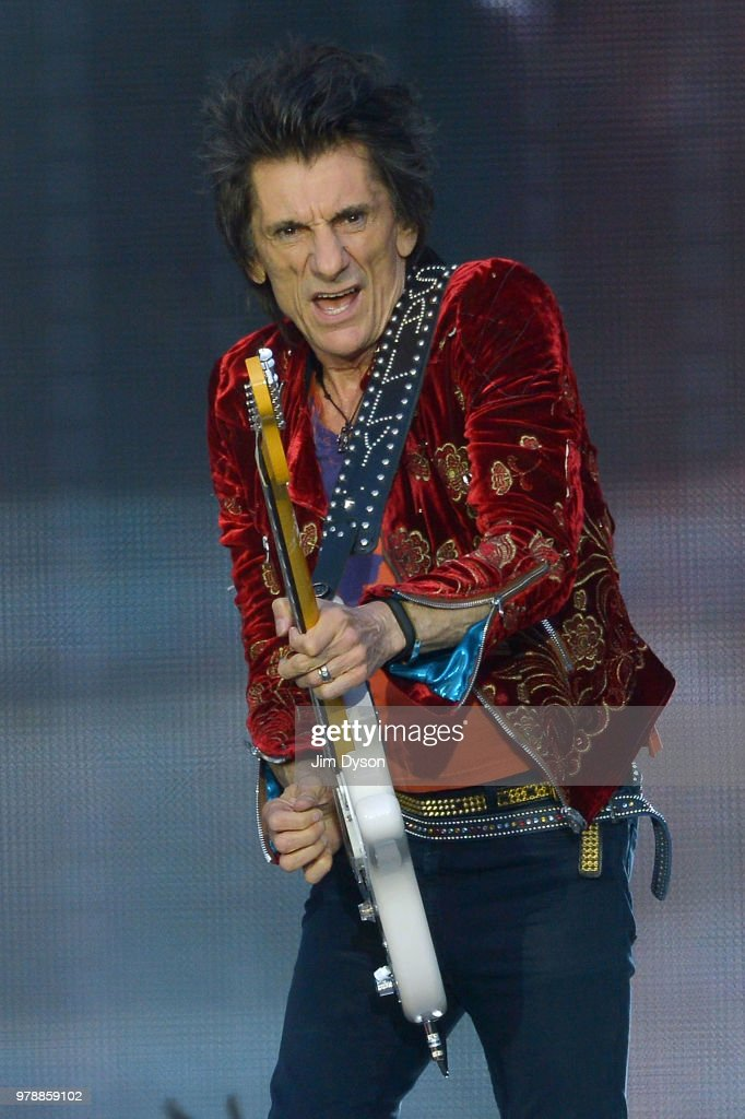 Ronnie Wood of The Rolling Stones performs live on stage at Twickenham Stadium during the 'No Filter' tour, on June 19, 2018 in London, England.
