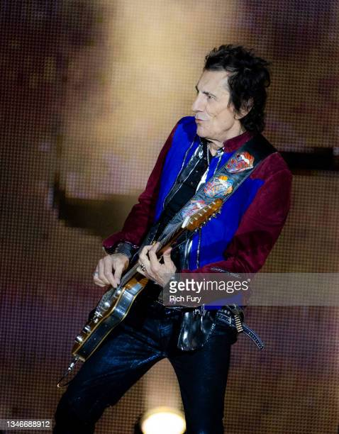 Ronnie Wood of The Rolling Stones performs onstage at SoFi Stadium on October 14, 2021 in Inglewood, California.