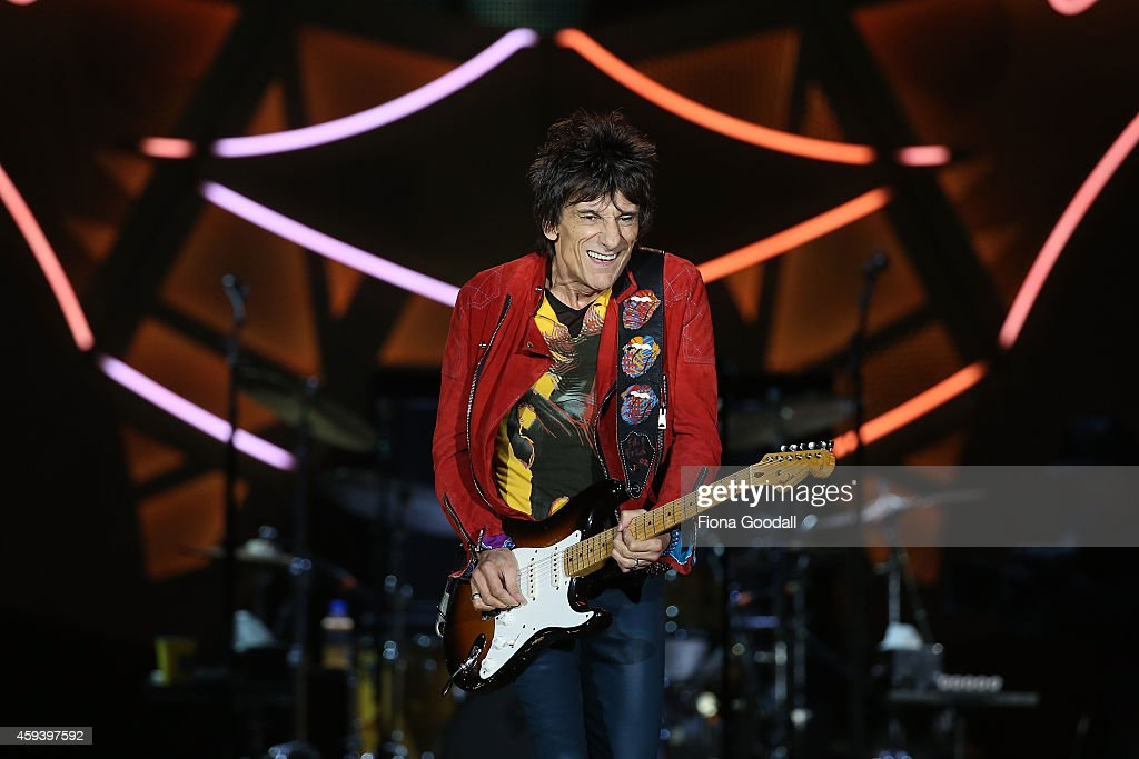 Ronnie Wood on guitar as The Rolling Stones perform live at Mt Smart Stadium on November 22, 2014 in Auckland, New Zealand.