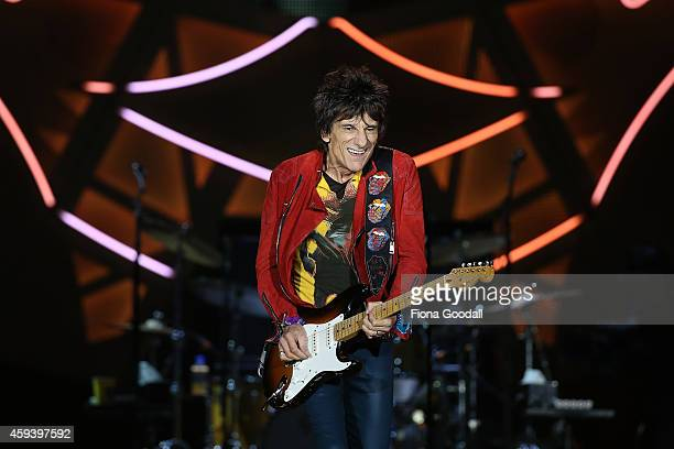 Ronnie Wood on guitar as The Rolling Stones perform live at Mt Smart Stadium on November 22 2014 in Auckland New Zealand