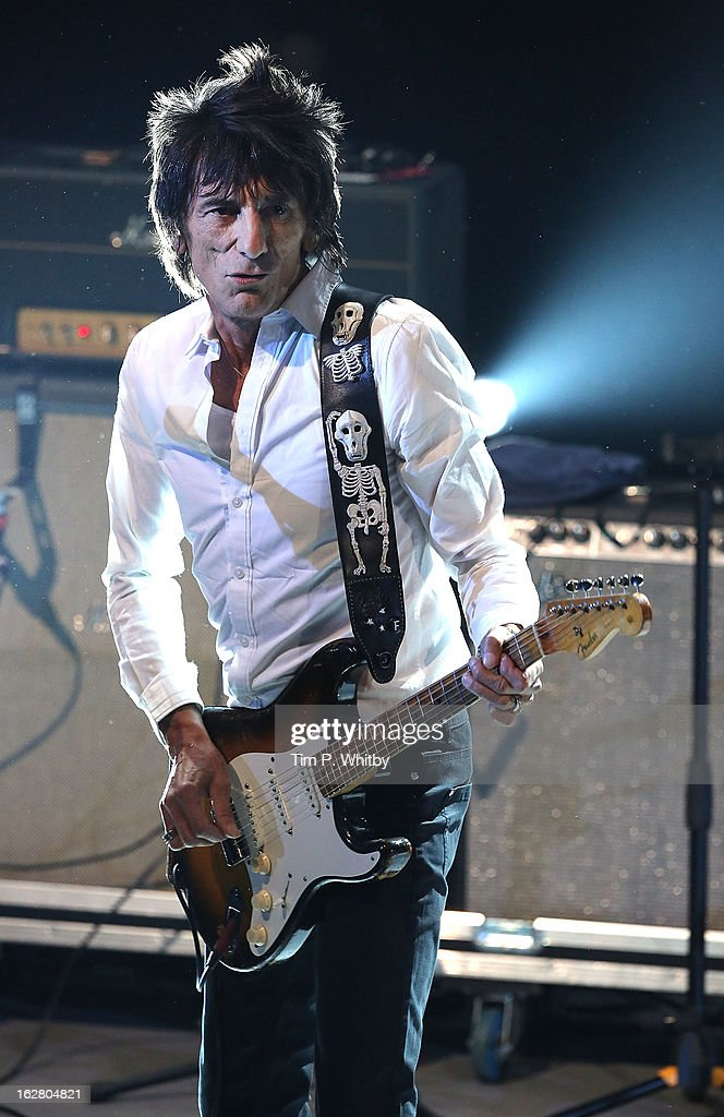 Ronnie Wood performs at the NME Awards 2013 at the Troxy on February 27, 2013 in London, England.