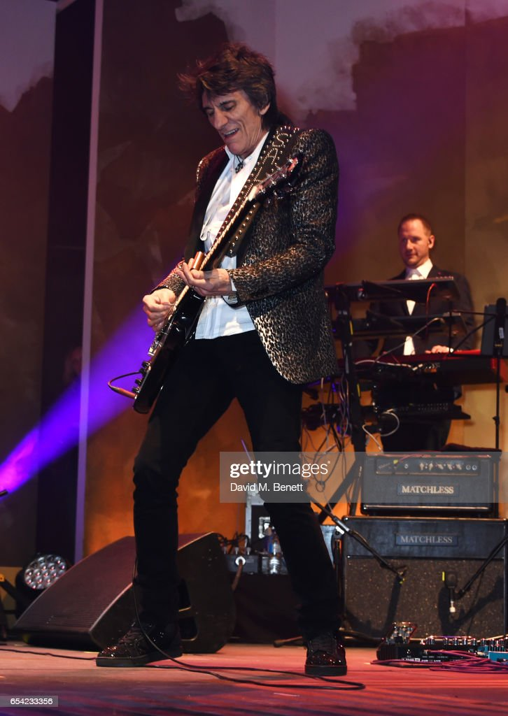 Ronnie Wood performs at the Roundhouse Gala at The Roundhouse on March 16, 2017 in London, England.