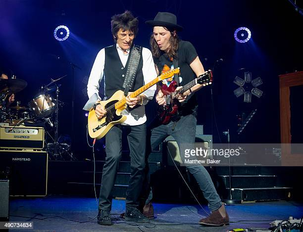 Ronnie Wood performs on stage with James Bay at O2 Academy Brixton on September 30 2015 in London England