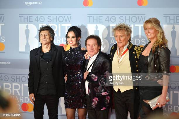Ronnie Wood, Sally Humphreys, Kenney Jones. Rod Stewart and Penny Lancaster attend The BRIT Awards 2020 at The O2 Arena on February 18, 2020 in...