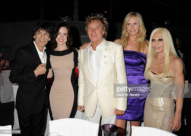 Ronnie Wood Sally Humphries Rod Stewart Penny Lancaster and Donatella Versace attend an after party following the Glamour Women of the Year Awards in...