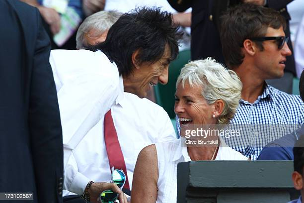 Ronnie Wood speaks with Judy Murray before the Gentlemen's Singles Final match between Andy Murray of Great Britain and Novak Djokovic of Serbia on...