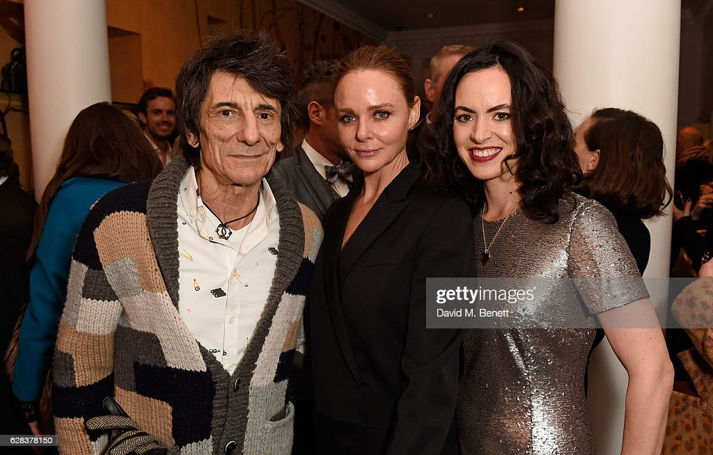 Ronnie Wood, Stella McCartney and Sally Wood attend the Stella McCartney Christmas Lights switch on at the Stella McCartney Bruton Street Store on December 7, 2016 in London, England.