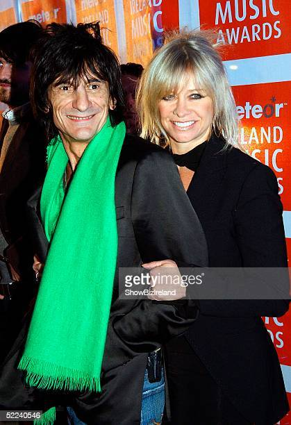 Ronnie Wood wife Jo pose for photographs inside The Meteor Ireland Music Awards 2005 Ceremony at The Point Theatre on February 24 2005 in Dublin...