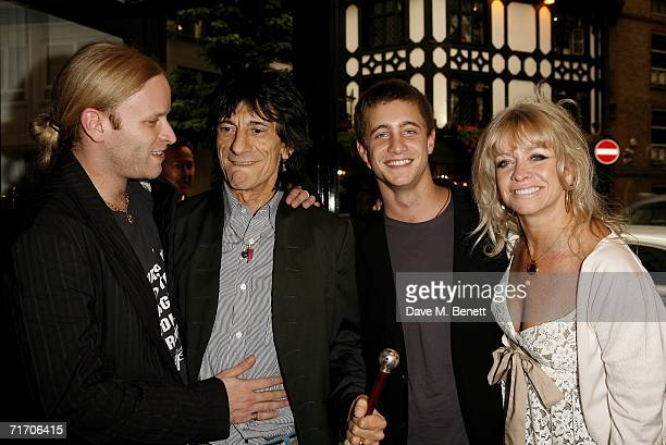 Ronnie Wood with his sons Ty and Jamie and wife Jo Howard attend a private view of paintings by Rolling Stones' guitarist Ronnie Wood at his son's...