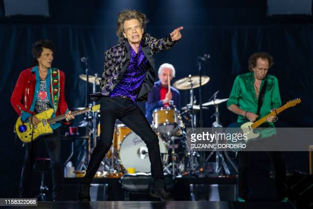 TOPSHOT Ronnie Woods Mick Jagger Charlie Watts and Keith Richards perform onstage as The Rolling Stones bring their 'NO FILTER' Tour at NRG Stadium...