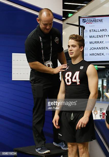 Ronning is measured for Height/Wingspan during the NHL Combine at HarborCenter on June 4 2016 in Buffalo New York