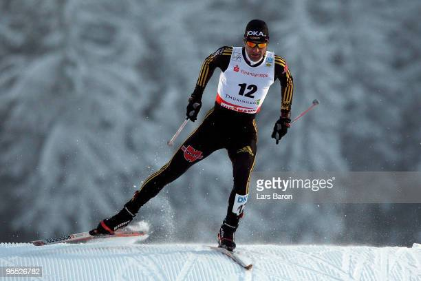Ronny Ackermann of Germany competes during the Cross Country event of the FIS Nordic Combined World Cup at the Hans-Renner-Schanze on January 2, 2010...