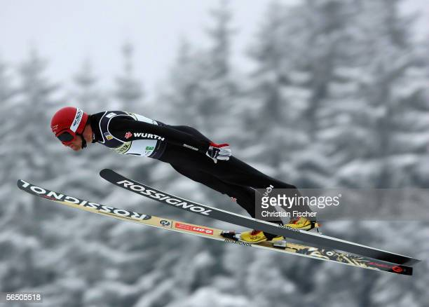Ronny Ackermann of Germany jumps down the hill during the FIS Nordic Combined World Cup on December 30, 2005 in Oberhof near Erfurt, Germany.