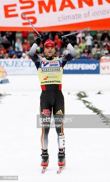 Ronny Ackermann of Germany reacts after the sprint race of the FIS Nordic Combined World Cup event on January 20, 2008 in Klingenthal, Germany....
