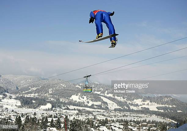 Ronny Ackermann of Germany, the overall winner, competes during the FIS Nordic World Ski Championships Men's Nordic Combined ski jump event at the...