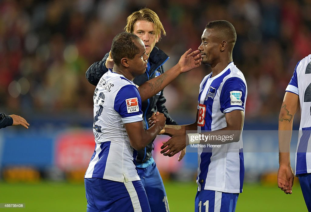 Ronny and Salomon Kalou of Hertha BSC during the Bundesliga match between SC Freiburg and Hertha BSC on september 19, 2014 in Freiburg, Germany.